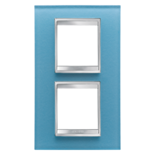 LUX INTERNATIONAL PLATE - IN GLASS - 2+2 GANG VERTICAL CENTRE DISTANCE 71mm - AQUAMARINE - CHORUS