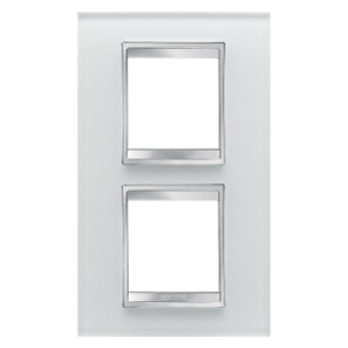 LUX INTERNATIONAL PLATE - IN GLASS - 2+2 GANG VERTICAL CENTRE DISTANCE 71mm - ICE - CHORUS