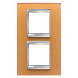 LUX INTERNATIONAL PLATE - IN GLASS - 2+2 GANG VERTICAL CENTRE DISTANCE 71mm - OCHRE - CHORUS