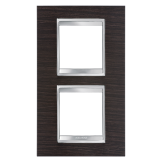 LUX INTERNATIONAL PLATE - IN TECHNOPOLYMER WOOD FINISHING - 2+2 GANG VERTICAL CENTRE DISTANCE 71mm - WENGE - CHORUS