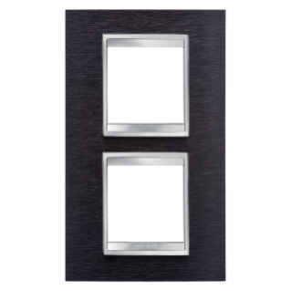 PLAQUE LUX - EN MÉTAL - 2+2 MODULES VERTICAL ENTRAXE 71mm - ALUMINIUM NOIR - CHORUS