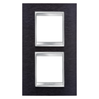 PLACCA LUX INTERNATIONAL - IN METALLO - 2+2 POSTI VERTICALE INTERASSE 71mm - ALLUMINIO NERO - CHORUS