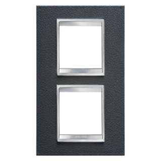 LUX INTERNATIONAL PLATE - IN TECHNOPOLYMER LEATHER FINISHING - 2+2 GANG VERTICAL CENTRE DISTANCE 71mm - BLACK - CHORUS