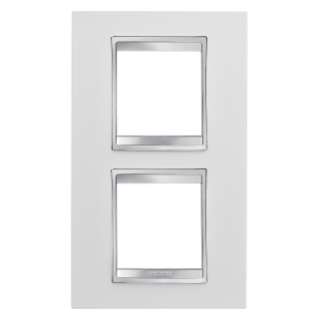 LUX INTERNATIONAL PLATE - IN TECHNOPOLYMER - 2+2 GANG VERTICAL CENTRE DISTANCE 71mm - MILK WHITE - CHORUS