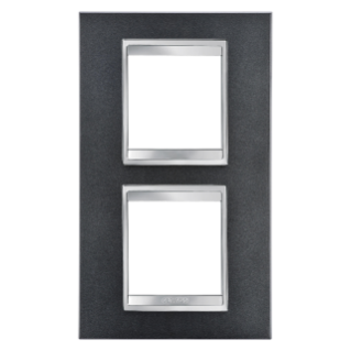 PLACCA LUX INTERNATIONAL - IN TECNOPOLIMERO VERNICIATO - 2+2 POSTI VERTICALE INTERASSE 71mm - ARDESIA - CHORUS