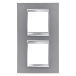 LUX INTERNATIONAL PLATE - IN PAINTED TECHNOPOLYMER - 2+2 GANG VERTICAL CENTRE DISTANCE 71mm - TITANIUM - CHORUS