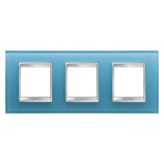 LUX INTERNATIONAL PLATE - IN GLASS - 2+2+2 GANG HORIZONTAL - AQUAMARINE - CHORUS