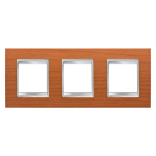 LUX INTERNATIONAL PLATE - IN TECHNOPOLYMER WOOD FINISHING - 2+2+2 GANG HORIZONTAL - CHERRY - CHORUS