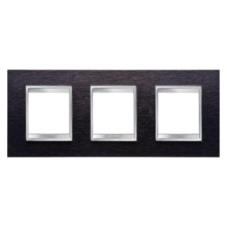 PLACA LUX INTERNATIONAL - EN METAL - 2+2+2 MÓDULOS HORIZONTAL - ALUMINIO NEGRO - CHORUS