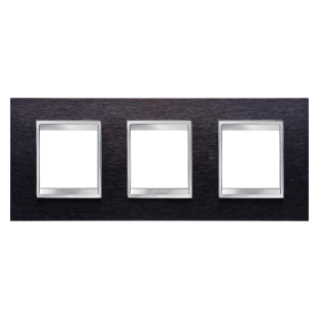 LUX INTERNATIONAL PLATE - IN METAL - 2+2+2 GANG HORIZONTAL - ALUMINIUM BLACK - CHORUS