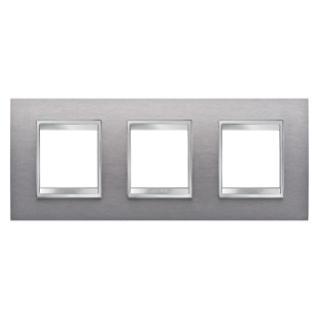 LUX INTERNATIONAL PLATE - IN METAL - 2+2+2 GANG HORIZONTAL - BRUSHED STAINLESS STEEL - CHORUS
