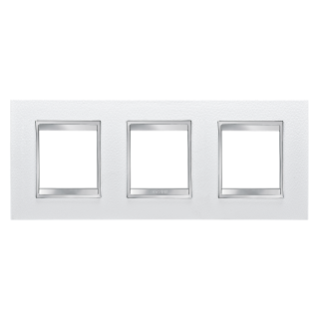 LUX INTERNATIONAL PLATE - IN TECHNOPOLYMER LEATHER FINISHING - 2+2+2 GANG HORIZONTAL - WHITE - CHORUS