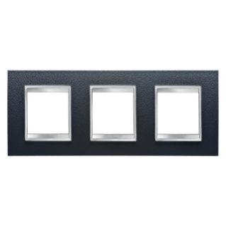 LUX INTERNATIONAL PLATE - IN TECHNOPOLYMER LEATHER FINISHING - 2+2+2 GANG HORIZONTAL - BLACK - CHORUS