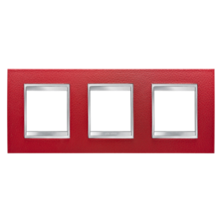 LUX INTERNATIONAL PLATE - IN TECHNOPOLYMER LEATHER FINISHING - 2+2+2 GANG HORIZONTAL - RUBY - CHORUS