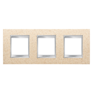 LUX INTERNATIONAL PLATE - IN TECHNOPOLYMER STONE FINISHING - 2+2+2 GANG HORIZONTAL - SAND - CHORUS