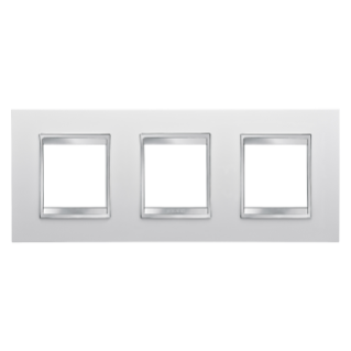 LUX INTERNATIONAL PLATE - IN TECHNOPOLYMER - 2+2+2 GANG HORIZONTAL - MILK WHITE - CHORUS