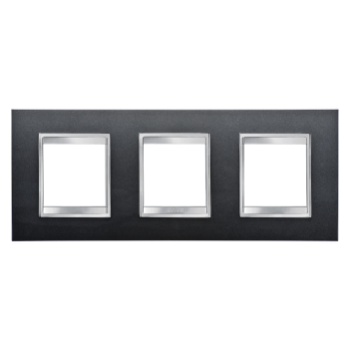 LUX INTERNATIONAL PLATE - IN PAINTED TECHNOPOLYMER - 2+2+2 GANG HORIZONTAL - SLATE - CHORUS