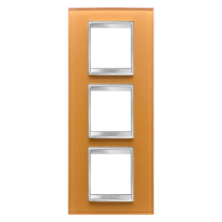 LUX INTERNATIONAL PLATE - IN GLASS - 2+2+2 GANG VERTICAL - OCHRE - CHORUS