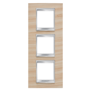 LUX INTERNATIONAL PLATE - IN TECHNOPOLYMER WOOD FINISHING - 2+2+2 GANG VERTICAL - MAPLE - CHORUS