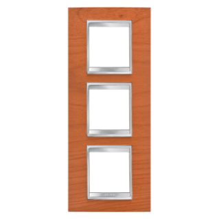 LUX INTERNATIONAL PLATE - IN TECHNOPOLYMER WOOD FINISHING - 2+2+2 GANG VERTICAL - CHERRY - CHORUS