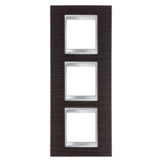 LUX INTERNATIONAL PLATE - IN TECHNOPOLYMER WOOD FINISHING - 2+2+2 GANG VERTICAL - WENGE - CHORUS