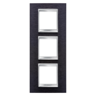 LUX INTERNATIONAL PLATE - IN METAL - 2+2+2 GANG VERTICAL - ALUMINIUM BLACK - CHORUS