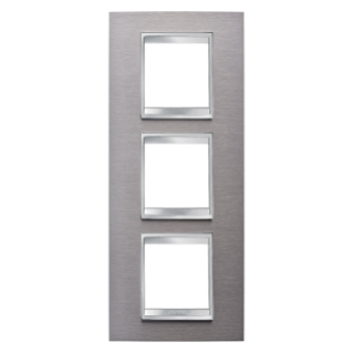 PLACA LUX INTERNATIONAL - EN METAL - 2+2+2 MÓDULOS VERTICAL - INOX CEPILLADO - CHORUS