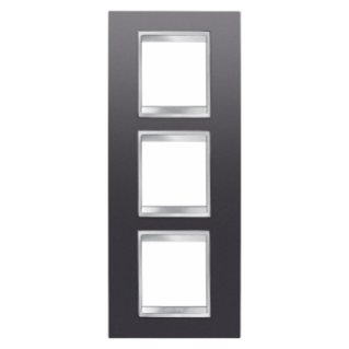 LUX INTERNATIONAL PLATE - IN PAINTED TECHNOPOLYMER - 2+2+2 GANG VERTICAL - SLATE - CHORUS