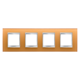 LUX INTERNATIONAL PLATE - IN GLASS - 2+2+2+2 GANG HORIZONTAL - OCHRE - CHORUS