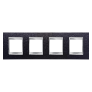LUX INTERNATIONAL PLATE - IN METAL - 2+2+2+2 GANG HORIZONTAL - ALUMINIUM BLACK - CHORUS