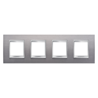 LUX INTERNATIONAL PLATE - IN METAL - 2+2+2+2 GANG HORIZONTAL - BRUSHED STAINLESS STEEL - CHORUS