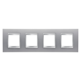 LUX INTERNATIONAL PLATE - IN PAINTED TECHNOPOLYMER - 2+2+2+2 GANG HORIZONTAL - TITANIUM - CHORUS