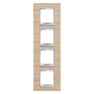 LUX INTERNATIONAL PLATE - IN TECHNOPOLYMER WOOD FINISHING - 2+2+2+2 GANG VERTICAL - MAPLE - CHORUS