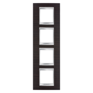 LUX INTERNATIONAL PLATE - IN TECHNOPOLYMER WOOD FINISHING - 2+2+2+2 GANG VERTICAL - WENGE - CHORUS