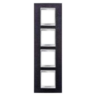LUX INTERNATIONAL PLATE - IN METAL - 2+2+2+2 GANG VERTICAL - ALUMINIUM BLACK - CHORUS