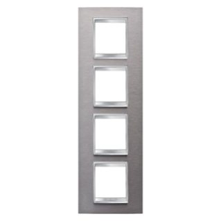 LUX INTERNATIONAL PLATE - IN METAL - 2+2+2+2 GANG VERTICAL - BRUSHED STAINLESS STEEL - CHORUS