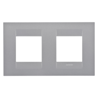 GEO INTERNATIONAL PLATE - IN PAINTED TECHNOPOLYMER - 2+2 GANG HORIZONTAL - TITANIUM - CHORUS