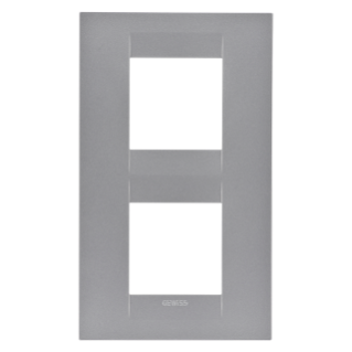 GEO INTERNATIONAL PLATE - IN PAINTED TECHNOPOLYMER - 2+2 GANG VERTICAL - TITANIUM- CHORUS