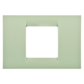 VIRNA PLATE - IN TECHNOPOLYMER GLOSS FINISHING - 2 GANG - VENETIAN GREEN - SYSTEM