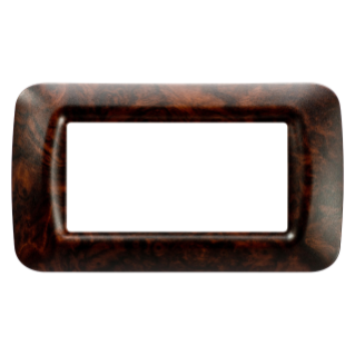 TOP SYSTEM PLATE - IN TECHNOPOLYMER - 4 GANG - ENGLISH WALNUT - SYSTEM