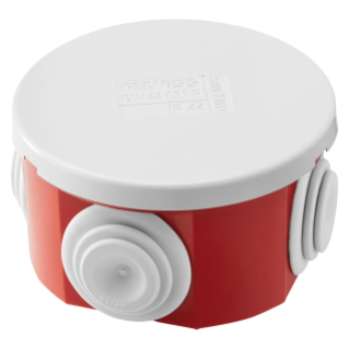 JUNCTION BOX WITH PLAIN PRESS-ON LID - IP44 - INTERNAL DIMENSIONS Ø 65X35 - WALLS WITH CABLE GLANDS  - GWT960ºC - GREY RAL 7035 - BOX RED RAL 3000