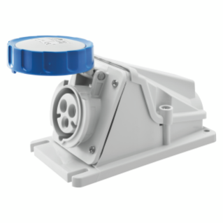 90° ANGLED SURFACE-MOUNTING SOCKET-OUTLET - IP67 - 2P+E 32A 200-250V 50/60HZ - BLUE - 6H - SCREW WIRING
