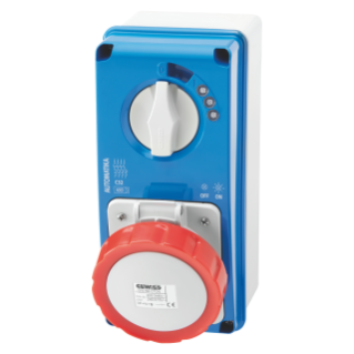 VERTICAL FIXED INTERLOCKED SOCKET OUTLET - AUTOMATIKA - MT 6KA CURVE C - WITH BOTTOM - 2P+E 32A 400V 9H - IP67