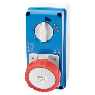 Automatika vertical interlocked socket-outlets with miniature circuit breaker MT 6kA C characteristic - 50/60Hz - IP67