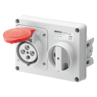 FIXED INTERLOCKED HORIZONTAL SOCKET-OUTLET - WITHOUT BOTTOM - WITHOUT FUSE-HOLDER BASE - 3P+E 32A 380-415V - 50/60HZ 6H - IP44