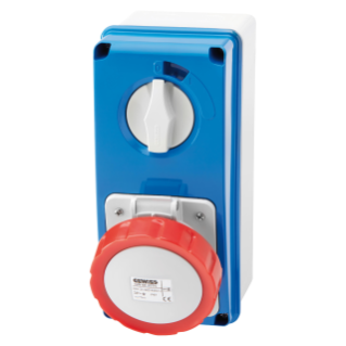 VERTICAL FIXED INTERLOCKED SOCKET OUTLET - WITH BOTTOM - WITHOUT FUSE-HOLDER BASE - 3P+E 16A 380-415V - 50/60HZ 6H - IP67