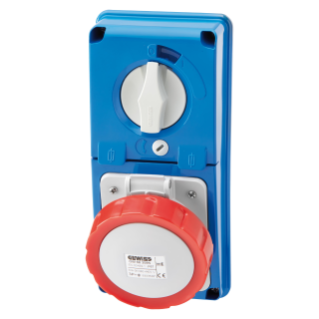 VERTICAL FIXED INTERLOCKED SOCKET OUTLET - WITHOUT BOTTOM - WITH FUSE-HOLDER BASE - 3P+E 16A 380-415V - 50/60HZ 6H - IP67
