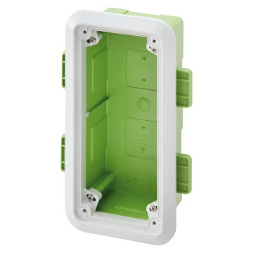 Box with frame for flush-mounting of vertical interlocked socket-outlets - IP55