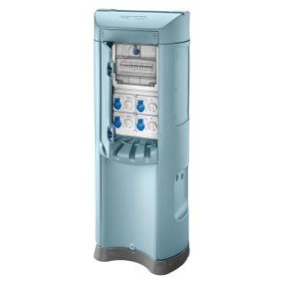 QMC200B - WIRED - DOUBLE SIDE TAKE-OFF - 4 SOCKET OUTLET 2P+T 16A - KNIFE SWITCH 4P 32A - 4 MCD 2P 10A 0,03A - IP44 - LIGHT BLUE