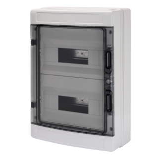 DISTRIBUTION BOARD WITH PANELS WITH WINDOW AND EXTRACTABLE FRAME - PRE- ARRANGED FOR TERMINAL BLOCK - (12X2) 24M IP65